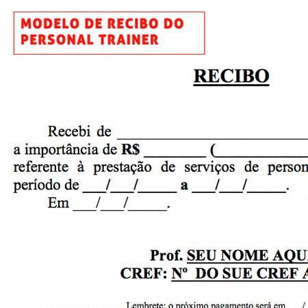 modelo de recibo kit personal trainer